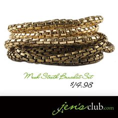 Mesh Stretch Bracelet Set From Regal Flexible mesh bracelets in varying gold shades can be stylishly worn together or individually with other styles from your collection. Mesh Bracelet, Bracelet Set, Cake Decorating Supplies, Stretch Bracelets, Jewlery, How To Make Money, Bangles, Shades, Number