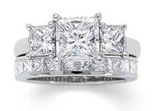 2.90ct 3-stone Princess cut diamond Engagement ring, center Princess cut diamond 2.00ct, I-SI1 GIA Certified, with 2 princess cut diamonds, 1 on each side 0.90ct, G-VS, set in 18kt white gold. Eternit