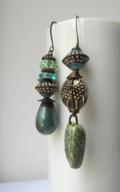 Let Fall earrings - ceramic leaf – Scorched Earth; polymer bicones – Graceful Willow; ceramic drop headpin – Something to do Beads #artbeads