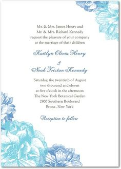 Sweet Peonies - Signature White Textured Wedding Invitations - Louella Press - Sky Martini - Blue : Front