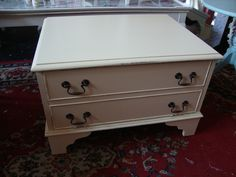 Client's own vintage period style TV/VCR console cabinet, handpainted in Cream  no. 44, distressed and waxed...