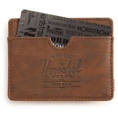 Herschel Supply Co. 'Charlie' Leather Card Case ($30) ❤ liked on Polyvore featuring men's fashion, men's bags, men's wallets and nubuck