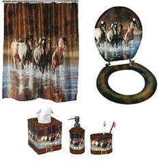 "Five Piece Horse Themed - ""Rush Hour"" Western Bathroom Set - Visit our website at www.crystalcreekdecor.com for more sizes and selections on Western Decor at great prices!  Also be sure to join our mailing list for upcoming offers, new products and special package deals."