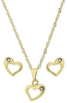 Conjunto folheado a ouro c/ corrente, brincos e pingente em forma de coração c/ strass. CÓD.: BG0815