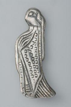 Pendant, female figurine. Silver. The figurine portrays a female figure interpreted as a valkyrie. Sibble, Grödinge, Södermanland, Sweden.  SHM 20672