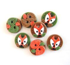 Button Fall Fox and Leaves handmade polymer clay buttons ( 7 ) by digitsdesigns on Etsy https://www.etsy.com/listing/103384487/button-fall-fox-and-leaves-handmade