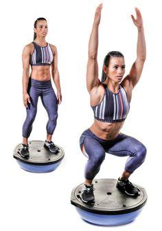 BOSU Circuit Workout: Balance, Burn and Build - Oxygen Magazine Bosu Workout, Cardio Workouts, Chair Workout, Swimming Workouts, Swimming Tips, Balance Board Exercises, Oxygen Magazine, Routine, Bosu Ball