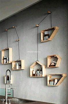 recycled pallets shelf art