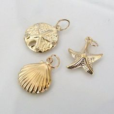Set of Sea Life Charms  14K Gold Filled Starfish by MadeOfMetal