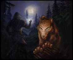 """Beren Faces Carcharoth """"Lúthien was spent, and she had not time nor strength to quell the wolf. But Beren strode forth before her, and in his right hand he held aloft the Silmaril. Carcharoth halted, and for a moment was afraid. 'Get you gone, and fly!' cried Beren; 'for here is afire that shall consume you, and all evil things.' And he thrust the Silmaril before the eyes of the wolf."""""""