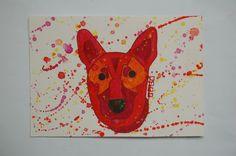 Nina, dog, watercolor