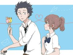 Omg one of my favourite movies from all time . Koe no katachi . A silent voice A Silence Voice, A Silent Voice Anime, Voices Movie, Anime Manga, Anime Art, Anime Love, Anime Guys, Character Illustration, Digital Illustration