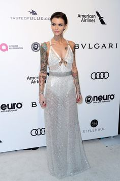 Ruby Rose Sheer Dress - Ruby Rose oozed major sex appeal wearing this sheer, embellished white gown by Julien Macdonald at the Elton John AIDS Foundation Oscar-viewing party. Elton John Aids Foundation, White Gowns, Ruby Rose, Orange Is The New Black, Rose Dress, Sheer Dress, Red Carpet Looks, Red Carpet Fashion, Girl Crushes