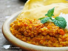 Red Lentil Dahl - added chickpeas  and served with coconut rice. SO GOOD!