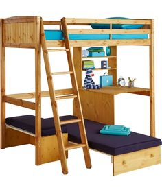 Buy Classic High Sleeper With Blue Sofa Bed Frame