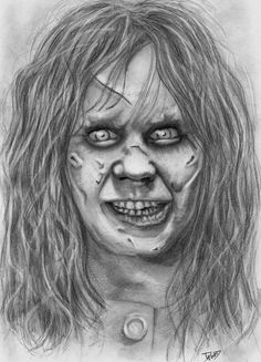 The Exorcist by MiisterH on DeviantArt Scary Drawings, Halloween Drawings, Dark Art Drawings, Couple Drawings, Horror Icons, Horror Comics, Best Horror Movies, Scary Movies, Angel Of Death Tattoo