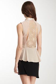 Sequin Collar & Lace Back Peplum Top