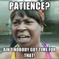 Sweet Brown Meme - Patience? Ain't nobody got time for that!