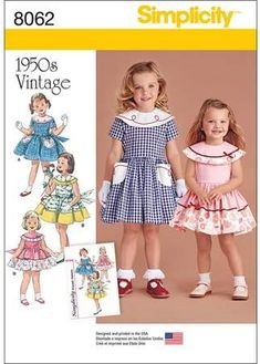 Simplicity Patterns Simplicity Pattern 8062 Vintage Dress for Toddler and 1950s Dress Patterns, Baby Girl Dress Patterns, Barbie Patterns, Vintage 1950s Dresses, Vintage Outfits, Vintage Fashion, Vintage Kids Clothes, Sewing Kids Clothes, Toddler Girl Dresses