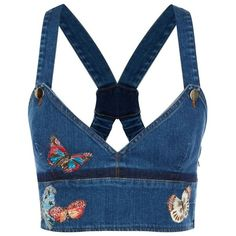 Valentino Butterflies Denim Crop Top ($1,155) ❤ liked on Polyvore featuring tops, crop top, shirts, crop, blue denim shirt, ruffle shirt, cropped denim shirt, strappy crop top and embroidered shirts
