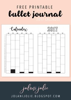 Free Printable: Bullet Journal 2017 Calendex