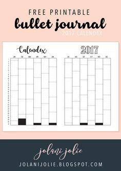 Free Printable: Bullet Journal 2017 Calendex