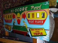 Vintage Antique Game - Uniteds Hi-Score Pool at Scranberry Coop Andover NJ. Great graphic of two retro ladies shooting pool