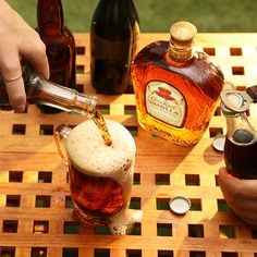 Try our Royal Hard Root Beer recipe with Crown Royal Vanilla Whisky and root beer. Liquor Drinks, Bourbon Drinks, Whiskey Cocktails, Cocktail Drinks, Fireball Drinks, Alcoholic Beverages, Beer Cocktail Recipes, Alcohol Drink Recipes, Beer Recipes
