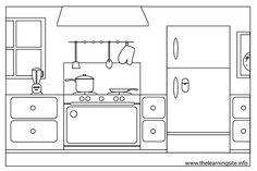 Bildergebnis für coloring pages house rooms Paper Doll House, Paper Houses, Paper Dolls, Learning Sites, Quiet Book Patterns, Background Drawing, Felt Quiet Books, Coloring Book Pages, Home Free
