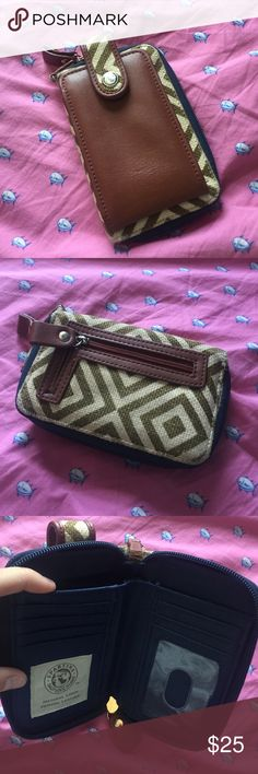 Spartina wallet Small wallet. Army green and light tan chevron pattern. Has been used, wear is shown in last picture. Still in good condition. Price is negotiable Lilly Pulitzer Bags Wallets