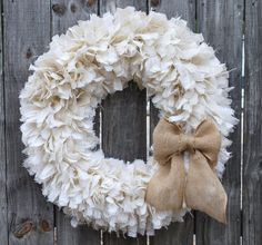 28 Burlap Rag Wreath Winter Wreath White Wreath by FairyMojo
