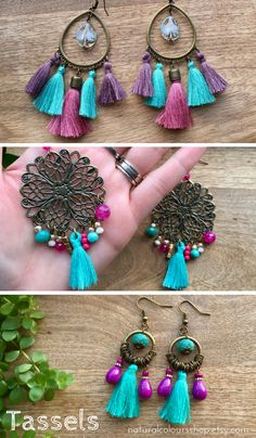 Tassel Boho Earrings Bohemian Earrings Chandelier Earrings Colourful Earrings Turquoise Tassel Earrings Big Earrings Hippie Earrings Gift Ideas #tasselearrings #earrings #tassels #jewelry #handmade
