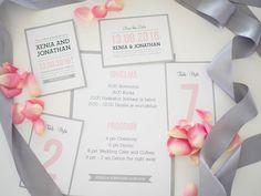 Custom made wedding invitations and stationery by www.makeadesign.fi / Photo: Xenia´s Day http://anna.fi/xeniasday/haakutsut-haiden-paperituotteet/