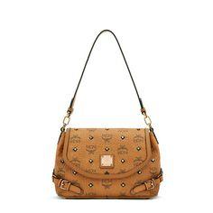 MCM Small Gold Visetos Studs Crossbody Bag In Brown