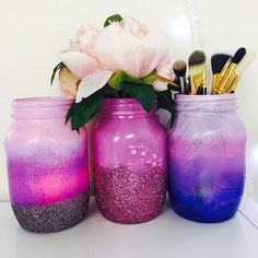 DIY: Mermaid Ombre Mason Jars