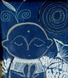 "Title is ""Pray -Ojizo-san"" made with Japanese indigo scrap textile. As a part or scrap timber project, I asked my friend, Daryl O'Bri. Arts And Crafts, Diy Crafts, Vintage Kimono, Vintage Japanese, Textile Art, Jeans, Fiber Art, Indigo, Blues"
