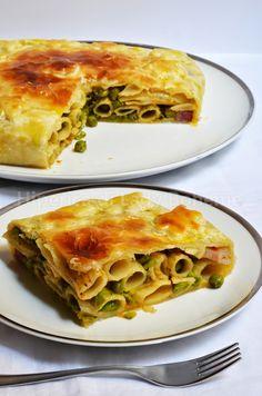 ITALIAN FOOD - TIMBALLO DI RIGATONI CON PISELLI - (RIGATONI WITH PEAS Timbale Recipe)
