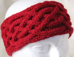 "• ""Erin"" Intertwining Celtic Knot Headband in a rich burgundy color. • The 3""  acrylic worsted knit headband will fit both women and men. • Continuous loop. • Very heavy and toasty warm. • Lots of give Care:Machine wash gentle cycle or hand wash. gentle soap Cool water. Dry flat. ©Crazy Celt Knitting by BJ Doolittle Tuininga  http://www.hearthandherb.crevado.com/"