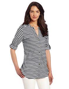 Calvin Klein Women's Striped Crew Neck Roll Sleeve Shirt, Ivory/Black, Small - http://best-women-shop.xyz/2016/07/01/calvin-klein-womens-striped-crew-neck-roll-sleeve-shirt-ivoryblack-small/