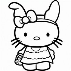 Hello Kitty Happy Easter Egg Coloring Page Pages Girls Free Online And