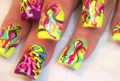 9 Best Graffiti Nail Art Designs: Neon Graffiti Nail Art: