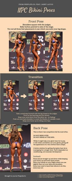 Infographic on npc bikini posing and mandatory poses. Informations About Infographic on npc Bikini Competition Training, Fitness Competition, Figure Competition, Bikini Competition Hair, Bikini Modells, Bikini Poses, Bikini Beach, Fitness Workouts, Fitness Diet