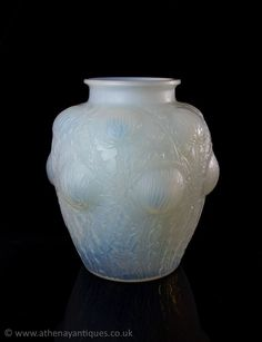 Rene Lalique White Opalescent Glass Domremy Design Vase c1926