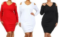 SEXY PLUS SIZE BODYCON DRESS Knee Length Open Shoulder Cut Out V Neck Party LONG SLEEVE RED, BLACK, WHITE PLUS SIZE XL 1X 2X 3X