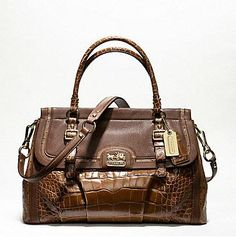 COACH MADISON SPECTATOR EMBOSSED EXOTIC FLAP CARRYALL
