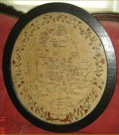 Antique Regency Needlework Map Sampler of England Wales Signed Oval Frame RARE | eBay