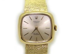 Vintage Rolex Cellini 14k Yellow Gold Manual Wind Cushion Bracelet Watch