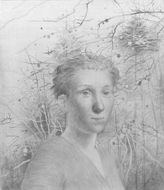 """Justin Wisniewski, """"Emily gave them one last look before she slipped into the crabapple forest."""" Silverpoint on watercolor and acrylic coated masonite panel Silverpoint, Drawing Sketches, Drawings, Art Forms, Monochrome, Charcoal, Pencil, Pastel, Portraits"""
