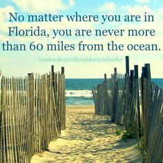 No matter where you are in Florida, you are never more than 60 miles from the ocean. Florida Girl, Florida Living, Florida Home, Florida Funny, Florida Style, Naples Florida, Central Florida, Coastal Living, Moving To Florida