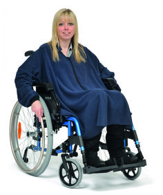 Mobility Poncho Sleeved (3 in 1)  A sleeved version of the popular poncho. Quick and easy to put on this 3 in 1 poncho can be worn unlined for rain protection, as a fleece for warmth or conbined for warmth and rain protection. Ideal for use on the scooter or wheelchair.